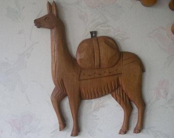 "Vintage Carved Wooden Wood LLAMA Figural Sculpture Hanging Wall Art 11"" x 8.5"" Original Artisan Indigenous Folk Art"