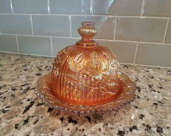 Imperial Marigold Open Lustre Rose Carnival Glass Covered Butter Dish