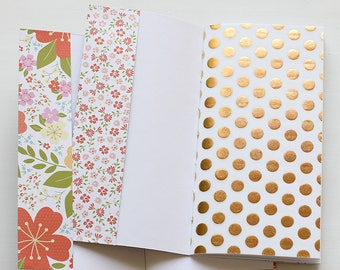 Floral Traveler's Notebook with Pockets Insert Set of 2