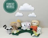 Forest Baby Mobile - Nursery, Unisex, Neutral, Decor, Mobile, Clouds, Animals, Woodland, Baby MADE TO ORDER