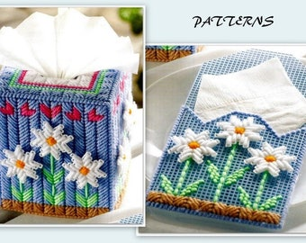 Tissue Cover & Napkin Holder Pattern - Plastic Canvas Pattern - PDF PC314621 - Easy Skill Level