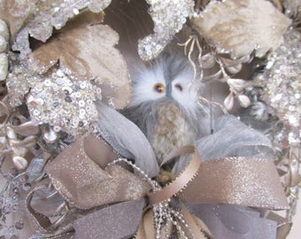 Taupe, Brown and Silver Baby Owl Victorian Beaded Christmas Wreath Door Swag