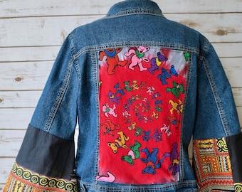 Grateful Dead Bohemian Dancing Bears Tie Dye Bell Sleeves Dashiki Woven Fabric Denim Jacket Size Medium Womens Clothing