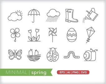 Minimal spring line icons | EPS AI PNG | Geometric Seasonal Clipart Design Elements Digital Download