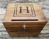 Monogram wedding card box with slot, rustic wedding card box, country chic card box, large card box, wooden wedding custom card box