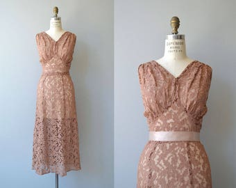 Cocoa Rose gown | vintage 1930s dress | lace 30s dress