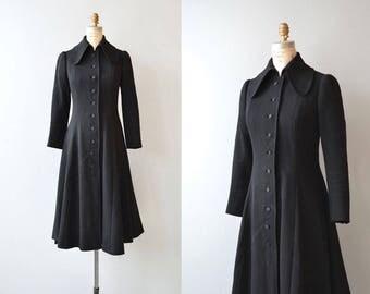 Lublin wool coat | vintage 1970s wool coat | black wool princess coat