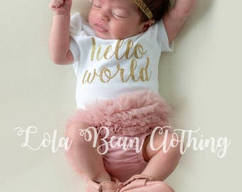 Baby Girl Take Home Outfit Newborn Hello World Bodysuit Bloomers Headband Set Dusty Rose Pink 3 Piece Set
