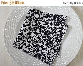 SALE Cloth Napkins Damask Black White Set of 6