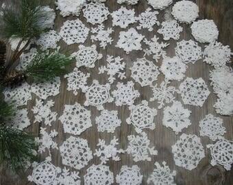 "30 Hand Crochet White Christmas Snowflakes Motifs Doilies Ornaments 3"" Cotton,Tea Party, Vintage Wedding,free US shipping"