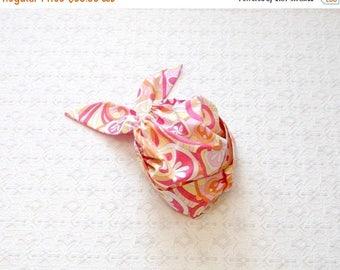 BACK TO SCHOOL Colorful Beach Wrap Turban Yoga Twist Hat with Pink Retro Swirls Fabric