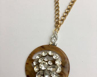 Tortise and Rhinestone Oversized Pendant Necklace-Heirloom Statement