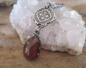 Red Garnet Gemstone Necklace, Fine Silver Mehndi Design, January Birthstone Jewelry, Gift for Her