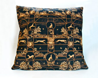 Handmade home decor black and tan toile Greyhound, Whippet, Iggy, Sighthound themed cushion cover, cotton, zipper.