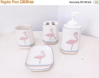 storewide clearance vintage 80s 90s bathroom decor pastel pink aqua blue flamingos retro miami minimal kitsch - Pink Flamingo Bath Decor