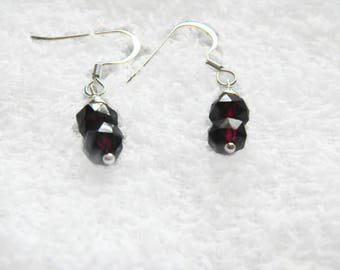 Garnet Earrings, January Birthstone
