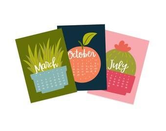 2018 Cactus Fruit Desk Calendar - 5x7 Calendar - Wall Calendar - Gifts Under 25 - Illustrated Calendar