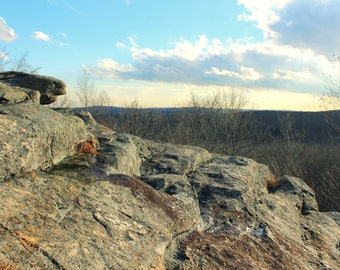"Landscape Photography, New England, Overlook, Nature, Woodland, Rustic, 4x6, 6x9 or 8x12. ""Rock Ledge""."