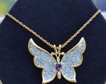 """On sale Beautiful Vintage Pave Rhinestone, Amethyst Butterfly Pendant Necklace, Gold tone, 24"""", P.S. Company (H13)"""