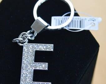 """On sale Pretty Vintage Letter """"E"""" Rhinestone Key Chain, Silver tone, """"Russ"""" (L9)"""