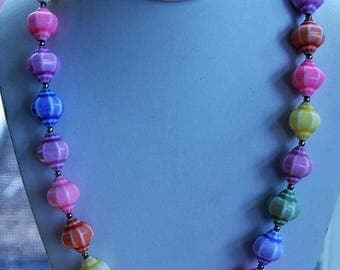 "ON SALE Colorful Pastel Plastic Beaded Necklace, Vintage, 24"" (AG16)"