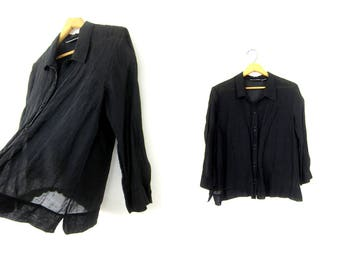 Minimal Black Blouse LINEN & SILK Button Up Shirt 90s Sheer Black Blouse Vintage Long Sleeve Top Simple Modern Shirt Womens Large