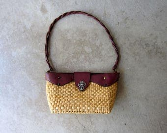 Etienne Aigner Basket Purse Woven Straw & Leather Shoulder Purse Vintage 60s Natural Look Basket Weave Bag Summer Picnic Purse Shoulder Bag