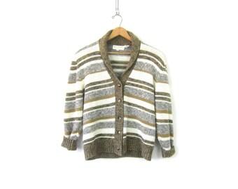 Retro Cardigan sweater Brown White Striped Button Up 80s Revival Cardigan Preppy sweater Women's Medium