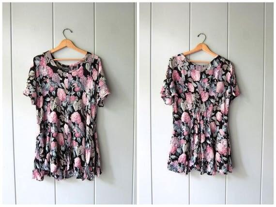 90s Black Pink Floral Dress Thin Rayon Gauze Dress Grunge Flirty Flower Print Mini Dress 1990s Revival Vintage Boho Babydoll Womens Medium