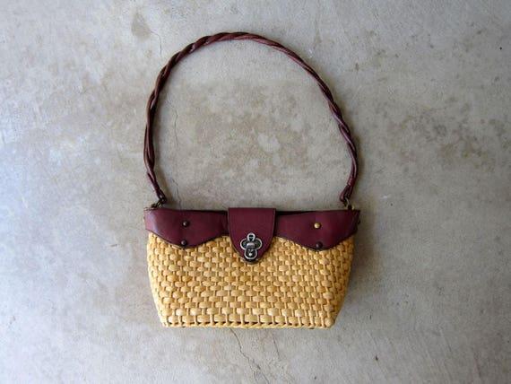Etienne Aigner Basket Purse Woven Straw & Leather Shoulder Purse Vintage 60s Natural Look Basket Weave Bag Summer Picnic Purse Shoulder Bag