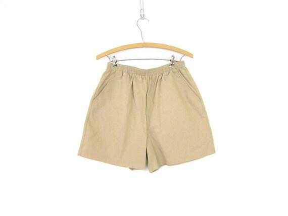 Khaki Tan Shorts 90s Elastic Waist Shorts Minimal Beige Shorts MOM Shorts with Pockets Vintage Safari Beach Shorts Women Large P