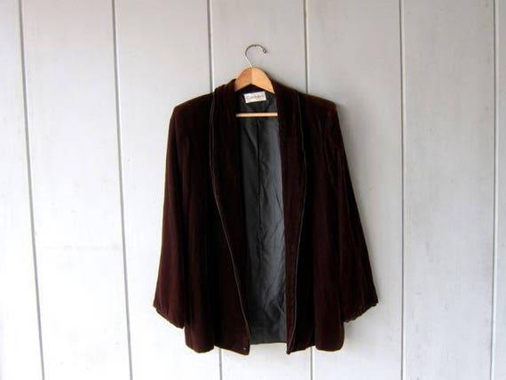 Brown Velvet Jacket Vintage Soft Velvet Blazer Open Fall Jacket w Pockets Calvin Klein Smoking Jacket Modern Fall Jacket Womens Small Medium
