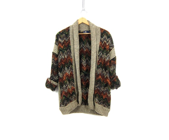 Long Zig Zag Cardigan Earthy Fall Colors Sweater 1980s Chevron Textured Knit Sweater Long with Pockets Vintage Womens Size Large