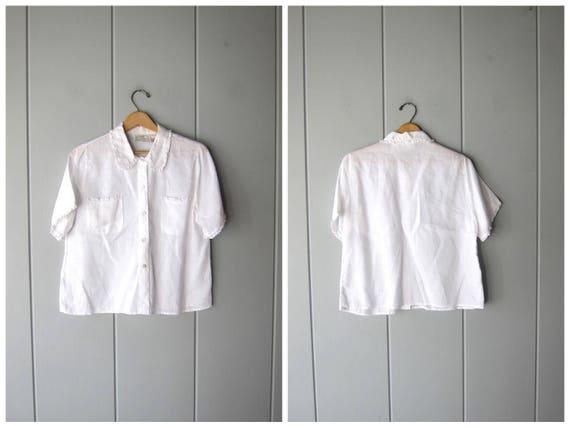 White Ramie Button Up Shirt Vintage 90s Minimal Basic Short Sleeve Pocket Blouse Boxy Simple Oversized Top Modern Tee Womens Large