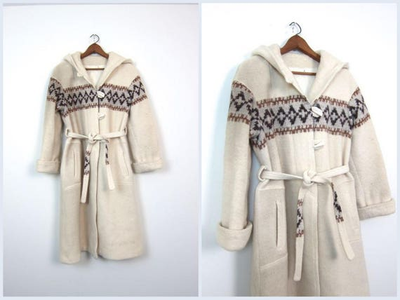 Vintage Icelandic Wool Coat Cream & Brown Fuzzy Wool Long Hooded Toggle Coat 70s Wool Belted Coat Natural Coat Pockets Womens Small Medium