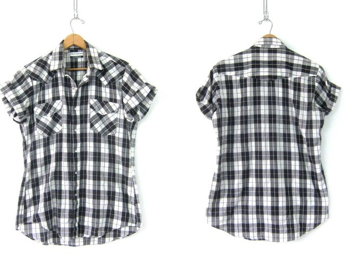 Black and White Western Shirt Plaid Pattern Snap Button Shirt Urban Hipster Pearl Snap Short Sleeve Top Men's Size Large