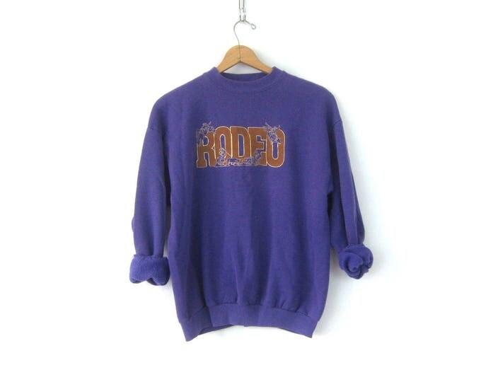 Purple Rodeo Sweatshirt Vintage Novelty Sweater Country Farm Sweater Worn in Women's Sweatshirt Size Large
