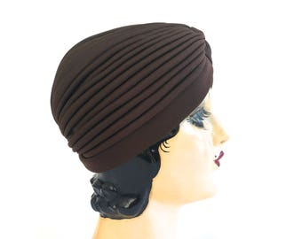 Vintage Chocolate Brown Turban Hat~ Mint Condition -Vintage Women's Accessories Hat ~ Boho Fall