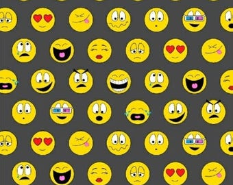 Pop Culture Fabric - Text Me Back Emoji Faces on Gray - Windham YARD