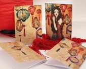 """Notebook - illustrated notebook - stationery - Chinese lantern - Asian Girl - China - """"The Night of the Lanterns"""""""