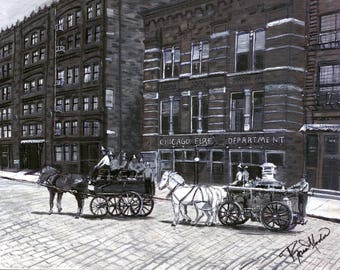 Old Chicago Fire Deptartment, a Vintage Memory.  A Print from the Original Painting by Artist, Roseann Madia