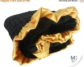 SALE Black and Gold Ruffled Minky Baby Blanket, 3 SizesCan Be Personalized