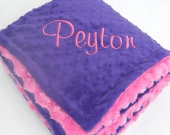 SALE Deep Purple and Fuchsia Pink Minky Baby Blanket - for girl Can Be Personalized