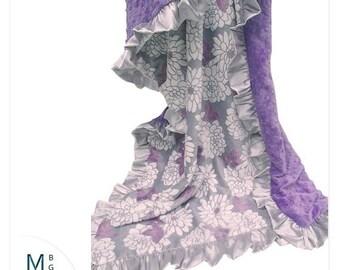 SALE Embroidered Gift, Minky Baby Blanket, Purple Crib Blanket, Baby Girl Blanket, Baby Blanket, Floral Baby Blanket, Lavender Blanket