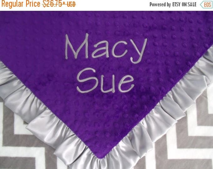SALE Grey Chevron and Purple Minky Swirl Baby Blanket - Ruffled Can Be Personalized