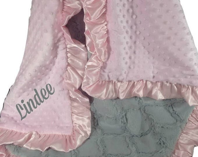 SALE Pink Minky Dot and Gray Lattice Baby Blanket Can Be Personalized