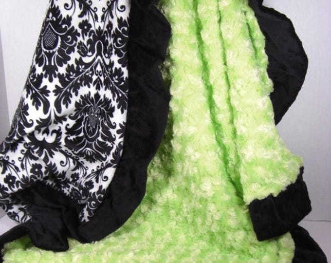 SALE Kiwi Apple Green and Black Damask Minky Baby Blanket - personalized Can Be Personalized