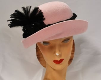 Flapper Hat in Pink and Black with Vintage Feather Spray