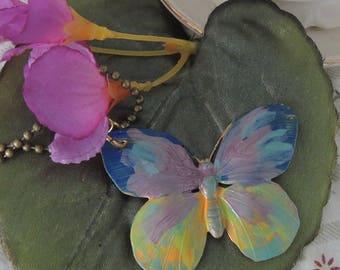 Enamel Handpainted Brass Butterfly Pendant Necklace