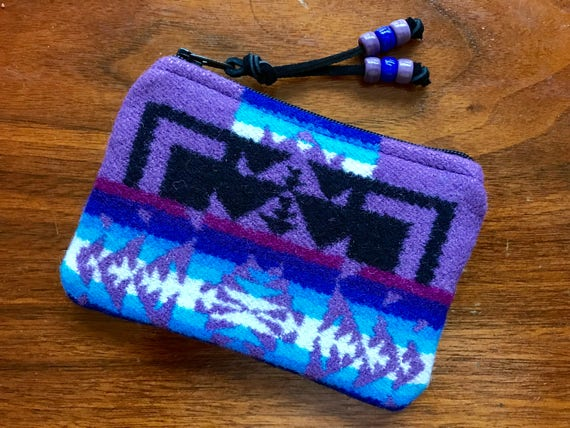 Wool Coin Purse / Phone Cord / Gift Card Holder / Zippered Pouch XL Purple Mini Chief Joseph